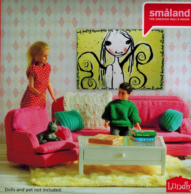 lundby smaland wohnzimmer pink sofa f r das. Black Bedroom Furniture Sets. Home Design Ideas