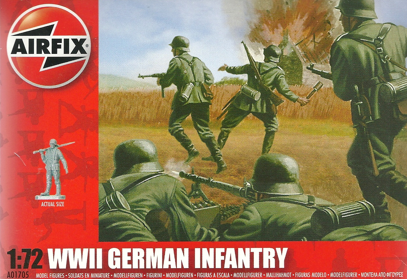 Deutsche Infantrie Airfix 1:72 01705 48 unbemalte Figuren